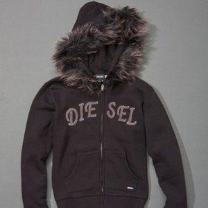 Diesel Black Lightning Faux Fur Hoodie size 6